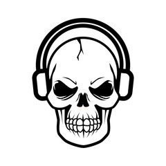 Skull Using Headphone Vector