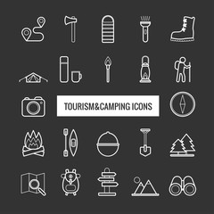 Collection of vector line tourism and camping icons for web design
