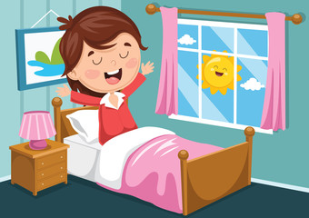 Vector Illustration Of Kid Waking Up