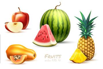 Pineapple papaya watermelon apple exotic fruit set Wall mural