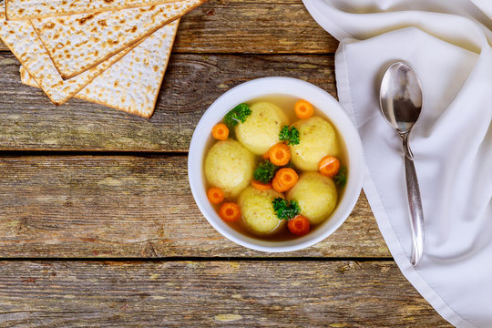 Hot Homemade Matzo Ball Soup in a Bowl