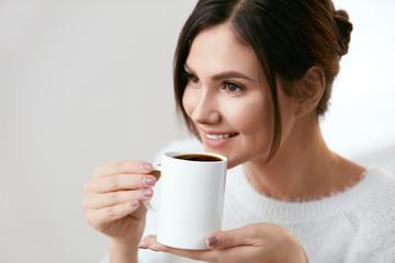 Coffee Drink. Beautiful Female Holding Cup With Hot Drink.