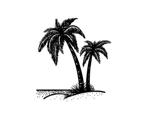 Palm Tree on the Beach Hand Drawing Sign Symbol Logo Vector