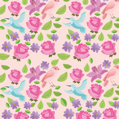 cute flowers birds natural decoration background image vector illustration