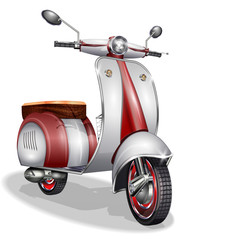 Red scooter.Vector Illustration.