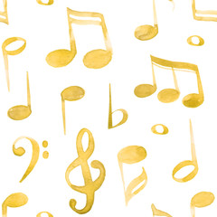 Watercolor illustration yellow music notes and keys pattern set