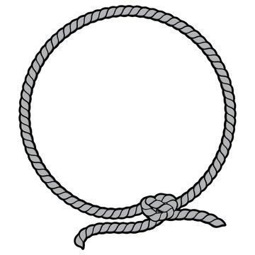 Rope Border Lasso Illustration - A vector cartoon illustration of a Rope Border Lasso concept.