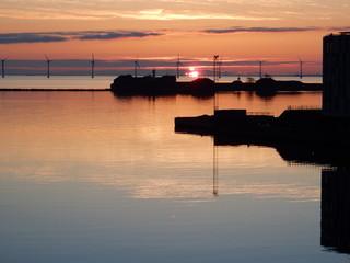 sunrise in Nordhavn, Copenhagen, Denmark