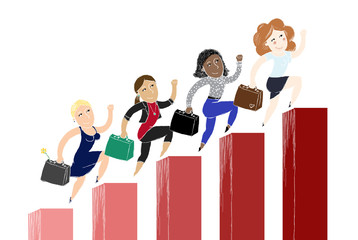 women of success, happy women climbing their career - illustration