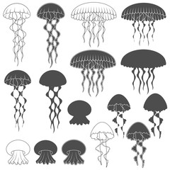 Set of black and white images with jellyfish. Isolated objects on white background.