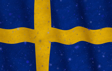 Illustration of a Swedish flag with snowflakes scattered around