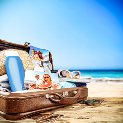 Summer suitcase and beach