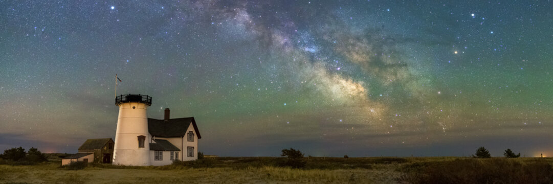 The Milky Way over Stage Harbor Lighthouse in Chatham, Massachusetts