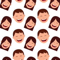 pattern faces smiling happy boys and girls vector illustration