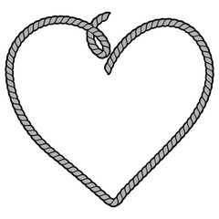 Rope Heart Illustration - A vector cartoon illustration of a couple of Rope Border Frame concept.