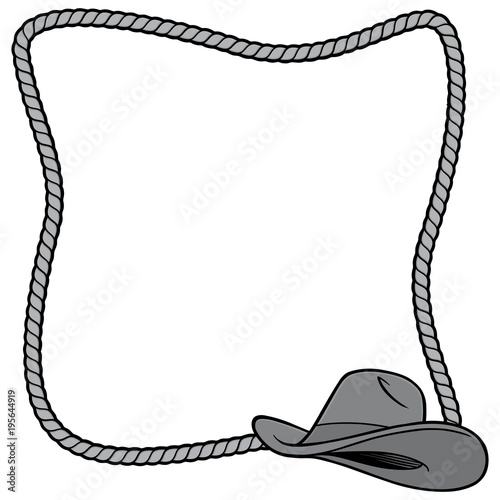 8a53106228d Rope Frame and Cowboy Hat Illustration - A vector cartoon ...
