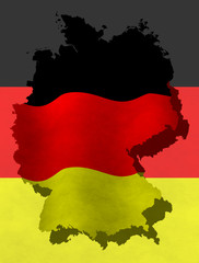 Illustration of a German flag with a contour of border