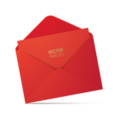 Red vector envelope isolated on a white background. Realistic red opened envelope standing on a surface.