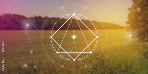 Sacred geometry website banner with golden ratio numbers