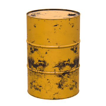 Old rust metal barrel oil isolated on white background. 3d render illustration
