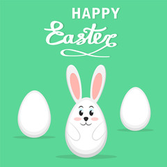 Easter rabbit and eggs on green background, Happy Easter greeting card, stock vector illustration