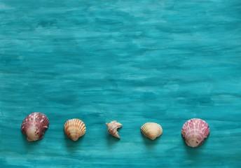 Selbst gemalter Hintergrund blau mit Muscheln