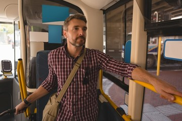 Man travelling in tram
