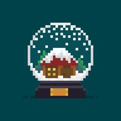 Pixel Art Snow Globe