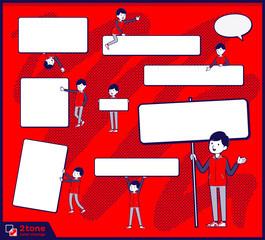 2tone type Store staff red uniform men_set 13