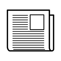 Minimalistic isolated newspaper icon with a picture
