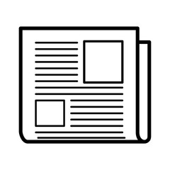 Minimalistic isolated newspaper icon with two pictures
