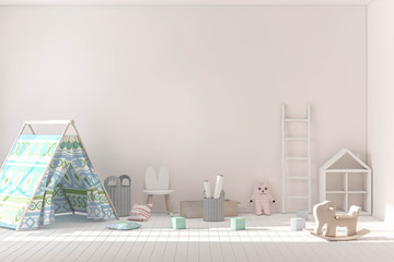 Wall mockup in child room 3d rendering