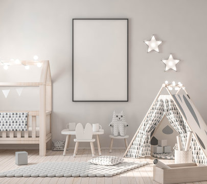Frame mockup in child bedroom with toy and game wigwam 3d rendering