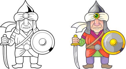 cartoon funny medieval warrior arab, coloring book