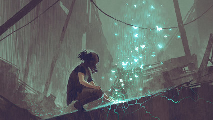 apocalypse concept of the man with a gas mask creating fairy light butterflies with magic, digital art style, illustration painting Fotoväggar