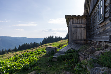 Wooden house in the background of a landscape.