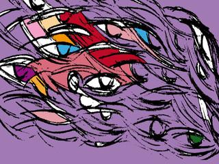 Eyes on a purple background, surrealism