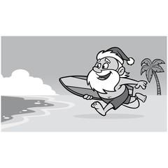 Santa at the Beach Illustration - A vector cartoon illustration of Santa at the Beach.