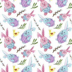 watercolor Easter pattern with rabbits, eggs, flowers and willow