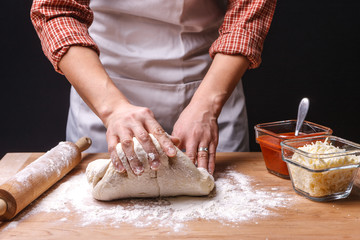 Kneading the dough,