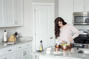woman cooks and bakes in the kitchen