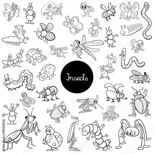 cartoon insects animals set coloring book\