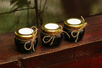 Picture of home made jam in jars.