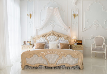 Luxury retro white bedroom