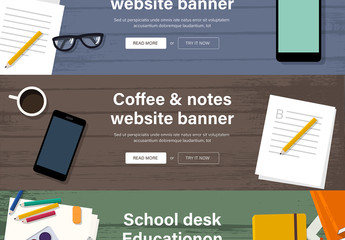 3 Illustrated Web Banner Layouts Set 1