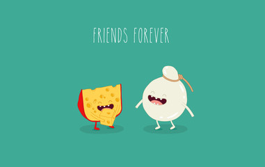 This is a vector illustration. The funny cheeses are friends forever. You can use for cards, fridge magnets, stickers, posters.