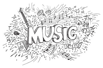 Music doodles over white background