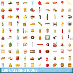 100 catering icons set, cartoon style