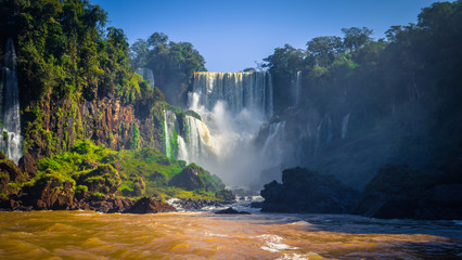 Puerto Iguazu - June 24, 2017: Landscape of the Iguazu Waterfalls, Wonder of the world, at Puerto Iguazu, Argentina
