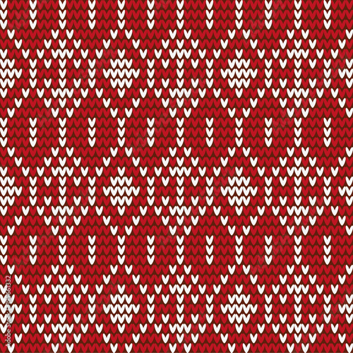 Knitted Red White Background Texture With Geometric Pattern